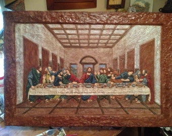 The Last Supper Handcrafted in Pecan Resin