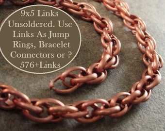 6ft Vintage Bare Raw Copper Plated Steel 5mm x 9mm Jump Ring Bracelet Connectors Chain Maille Charm Cable Rope 17g Half Round Wire Link C59