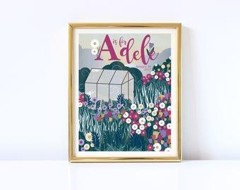 Garden Baby Name Digital Print