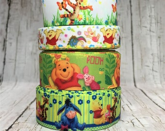 "5/8"" - 1"" Pooh Bear Ribbon Tiger Piglet Pig Donkey Animal Movie TV Cartoon Characters Stripe Grosgrain Hair Bow Ribbon - Sold by 5 Yards"