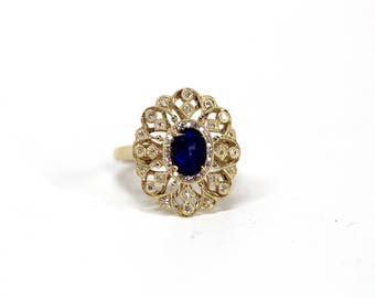 Vintage Estate Jewelry - 14k Yellow Gold Diamond Studded Filigree Ring with Sapphire Center Stone - Ring Size 5