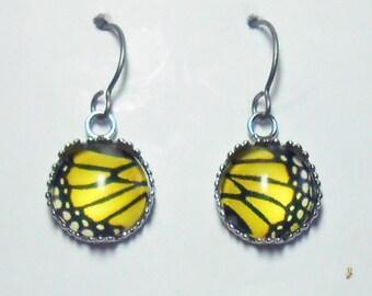 Monarch Butterfly Earrings Titanium Hypoallergenic