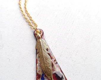 Glass and Feather Pendant