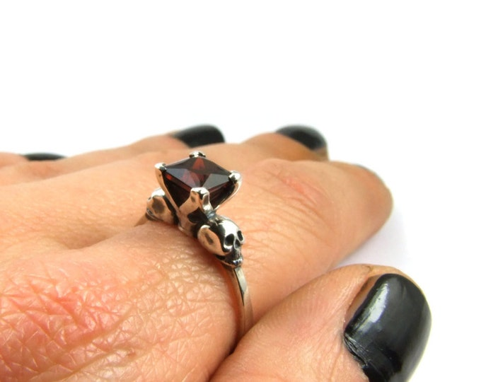 Skull Ring Size 8.5 READY TO SHIP Goth Engagement Ring Square Garnet Psychobilly Wedding Jewelry Blood Red Gemstone Ring Memento Mori Ring