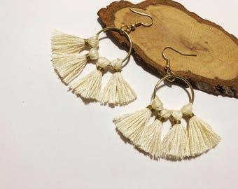 White Hoop Tassel Earrings