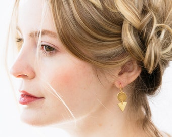 Minimalist earrings, Tiny earrings, Minimalist jewelry,  Dainty earrings, Geometric earrings, Simple earrings, Gold earrings, Small Earrings