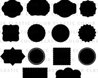 Labels svg clipart  - label clip art - cuttable and printable circle and square label files digital download tags - svg, png, dxf, eps