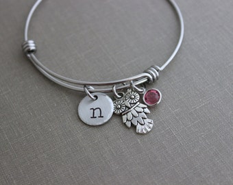 Owl bracelet, stainless steel adjustable bangle with pewter wise owl charm,  personalized initial disc and Swarovski crystal birthstone