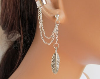 Ear Cuff Earrings Silver Double Chain Large Feather