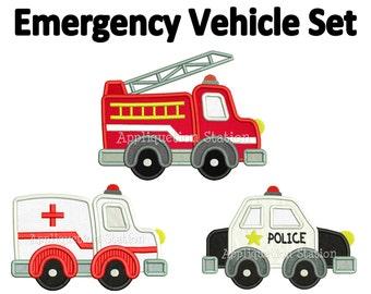 Emergency Vehicle Set Applique Machine Embroidery Design boy ambulance, fire engine truck, police car INSTANT DOWNLOAD