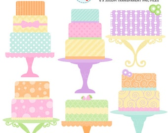 Pretty Pastel Cakes Clipart Set - clip art set of cakes, pastel, cake, spring cakes - personal use, small commercial use, instant download