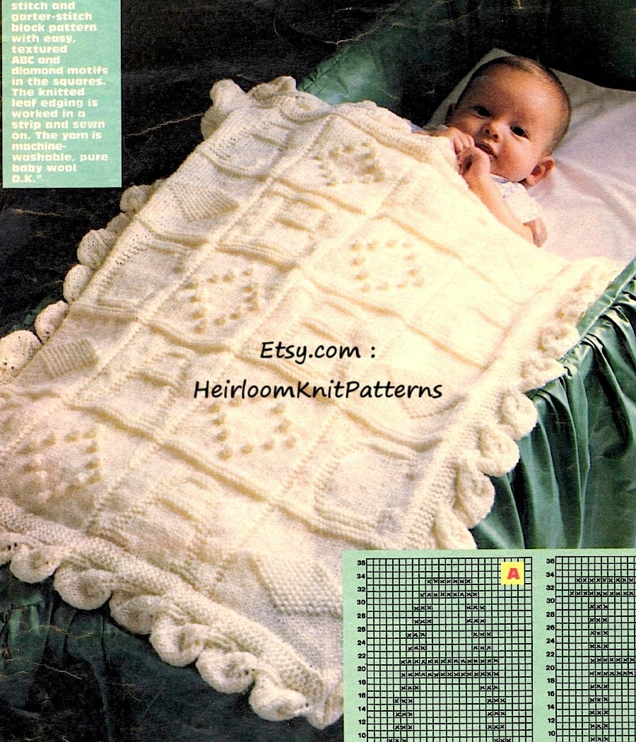 Heirloom Baby Boy Girl Blanket Knitting Pattern PDF Vintage Knit ...