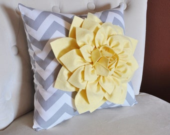 Decorative Pillow- Light Yellow Dahlia on Gray and White Zigzag Pillow -Chevron Pillow-