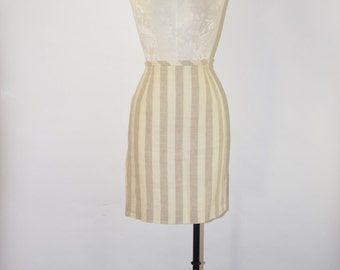 90s striped linen skirt / 1990s neutral pencil skirt / vintage tan fitted skirt