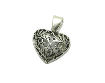 PE001207 Sterling silver pendant 925  Filigree Heart