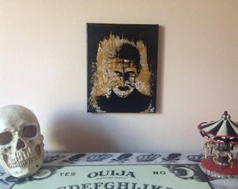 Gold and black pin head hellraiser horror acrylic painting/ horror wall art/ horror wall decor