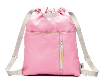 Organic Canvas Pink Drawstring Kids Backpack, Kids Backpack, Drawstring Pouch, Small Drawstring Bag, Cotton Drawstring Bag