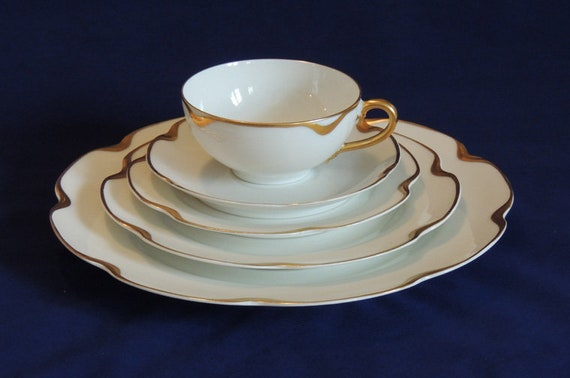 Vintage Haviland Silver Anniversary / 5 Pc Place Setting..  Gold Trimmed Limoges