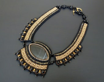 Egyptian beaded necklace Statement egyptian jewelry Black gold statement necklace Bead embroidered egypt necklace Black agate bib necklace