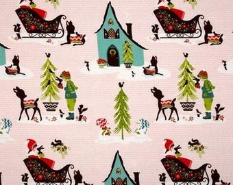 Fabric patchwork Christmas sleighs Christmas pink by Riley Blake