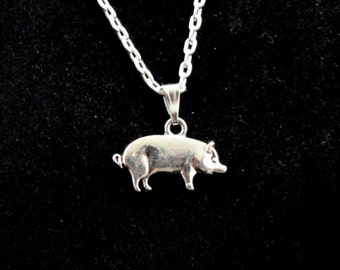 Pig necklace, Silver pig necklace, Cute pig necklace, Animal necklace, Farm Animal jewellery, Quirky necklace