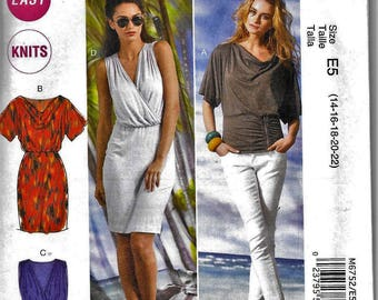 McCall's M6752 Easy Knit Dress Or Top Cowl Neck Or V Halter Sewing Pattern 6752 UNCUT Plus Size 14, 16, 18, 20, 22