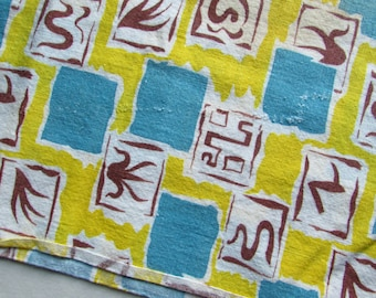 Fun Geometric Design Feedsack - Turquoise and Yellow - Full Size - Some Fading