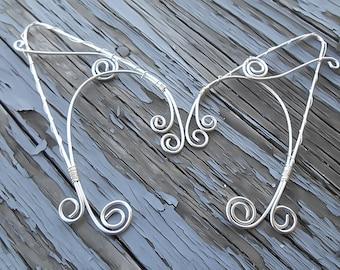 Elf Ears - Elf Ear Cuff - Silver Elf ears - Elven Clothing - Elven Ears - Elven Jewelry - Wire wrapped ear pair -  Dragon ears - Fairy ears