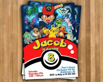 Pokemon Invitation. Pokemon Birthday Invitation. Pokemon Birthday Card. Pokemon Party. Pokemon GO Invitation. Pikachu Invitation.