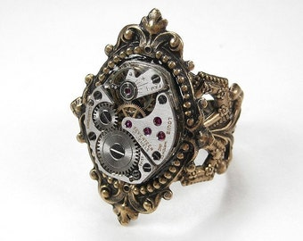 Steampunk Jewelry Ring Watch Movement Steam Punk Womens Victorian Ring Wedding Anniversary Mothers Day - Steampunk Jewelry by edmdesigns