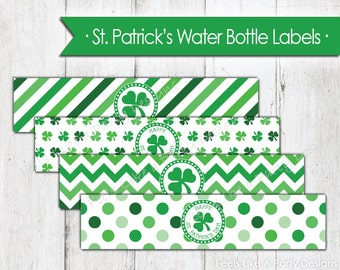 St. Patrick's Day Water Bottle Wrappers - Instant Download