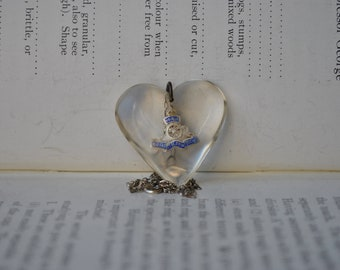 Vintage Lucite Sterling Heart Pendant - 1940s WWII Sweetheart Token Pendant, Free Shipping