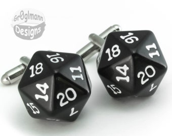 Cufflinks - D20 - Wedding Special - 5 Pairs - Dungeons and Dragons, Magic The Gathering