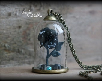 Antique Bronze glass dome necklace with Black Rose