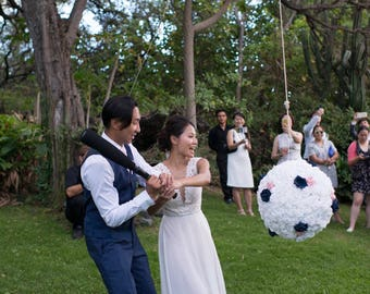 Wedding pinata Anniversary Pinata Ball with Roses white navy blue and pink.