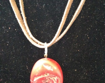 "Leather and Red Coral stone Necklace 20""Long"