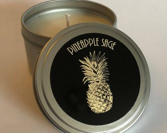 8 fl oz Pineapple Sage Candle in a Candle Tin