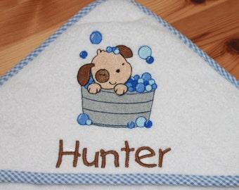 Kids Towel - Personalized Bath Towel - Hooded Baby Towel - Baby Gift - Puppy Towel - Shower Gift - Baby Boy Towel
