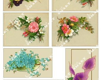 Flowers - 7 Floral Bouquets from the turn of the century on a Digital Collage Sheet Download - AFLWR5