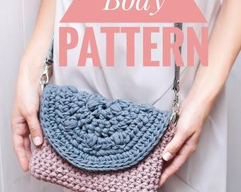 Cross body bag pattern Crochet tutorial Handbag with openwork flap PDF pattern