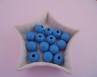 11 blue wood beads 10 mm round