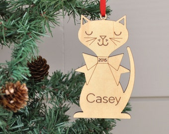 Wooden Cat Ornament: Personalized Name, for Kitty or Kids, Boy or Girl, Cute Christmas Kitten, Cat Lover Gift, Pet Memorial Ornament