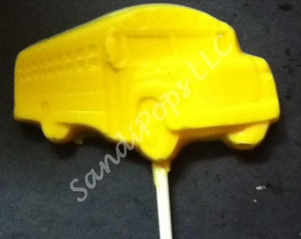 24 Back to School, Party Bus Birthday Chocolate Lollipop Party Favor