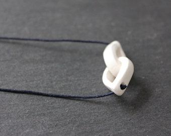 Handmade porcelain loop necklace, white