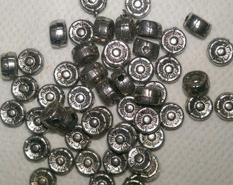 6 x 3 mm Pewter Flower beads