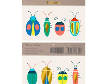 Kids Temporary Tattoos - Neon Bugs by Meri Meri, Bug Tattoo, Kids Tattoo, Colorful Bugs & Beetles for Insect Lovers, Go Wild, Let's Explore