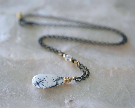 Dendritic Opal Necklace on Oxidized Sterling Silver Chain with Gold Accents and Moonstone