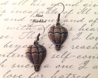 Hot Air Balloon Dangle Earrings. Whimsical In Flight. Adventure. Vintage Style Brass. Sweet Childhood Memories. Under 10 Gifts for Her.