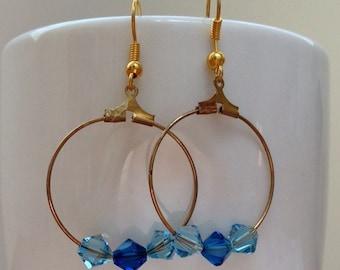 Blue swarovski bicone crystal hoop earrings