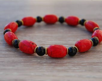 Red Stone Bracelet,Red Coral Gemstone Beads,Oval Shape Beads,Elastic Stretch Bracelet,Women,Girl,Chic,Pray,Love,Peace,Gift